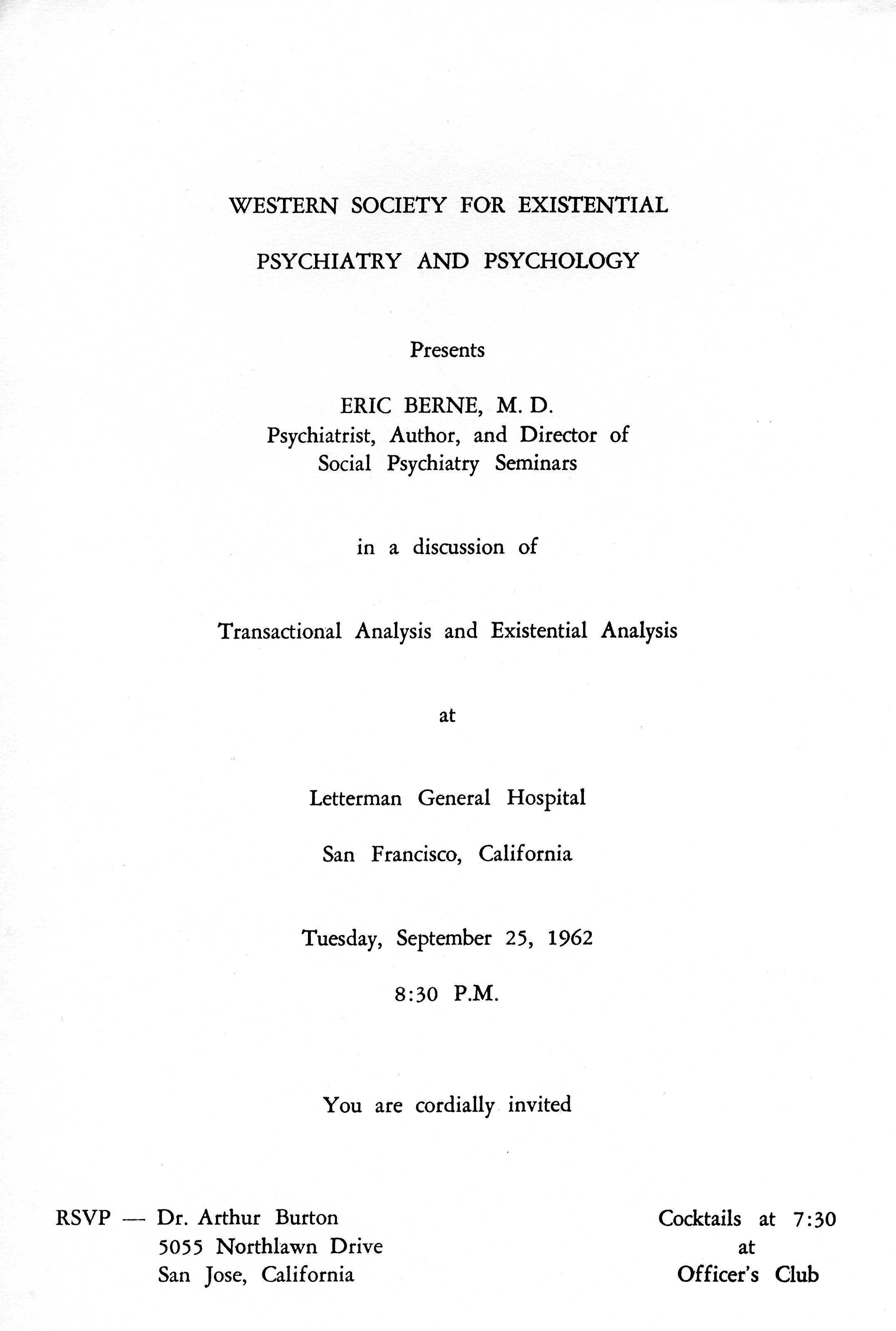Flyer for Eric Berne's discussion of Transactional Analysis and Existential Analysis for the Western Society for Existential Psychiatry and Psychology