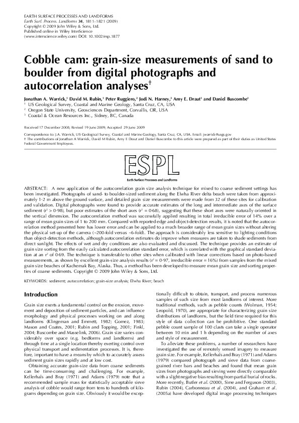 Cobble cam: grain-size measurements of sand to boulder from digital photographs and autocorrelation analyses