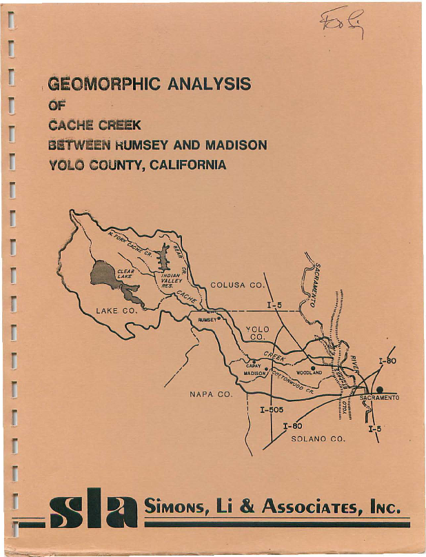 Geomorphic Analysis of Cache Creek between Rumsey and Madison, Yolo County, California