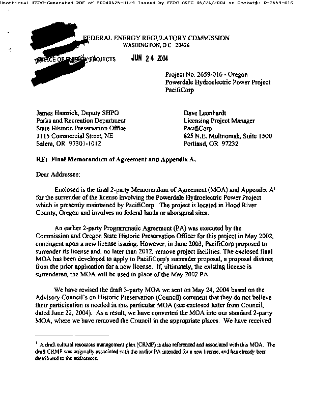 Memorandum of Agreement among the Federal Energy Regulatory Commission and the Oregon State Historic Preservation Officer for Managing Historic Properties that May Be Affected by PacifiCorp's Surrender of License for the Powerdale Hydroeletric Power Project in Hood River County, Oregon