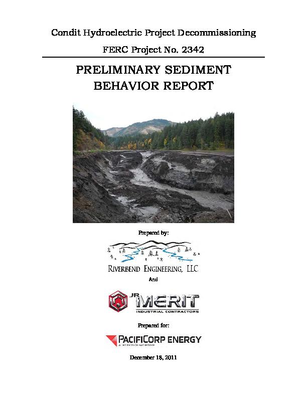 90-day Post-Breach Preliminary Sediment Behavior Report-Condit Dam Removal