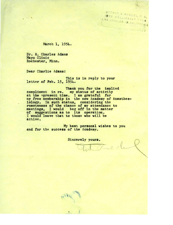 Arthur E. Guedel letter to Charles Adams