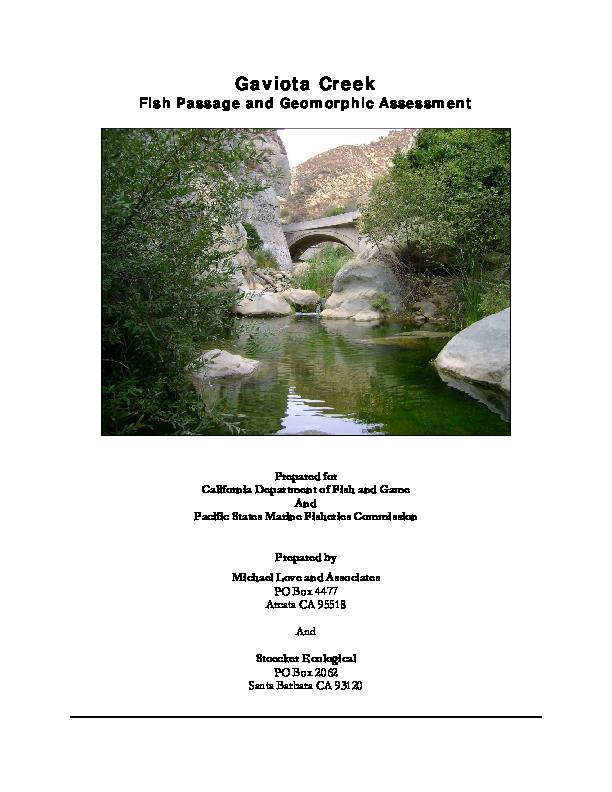 Gaviota Creek: Fish Passage adn Geomorphic Assessment