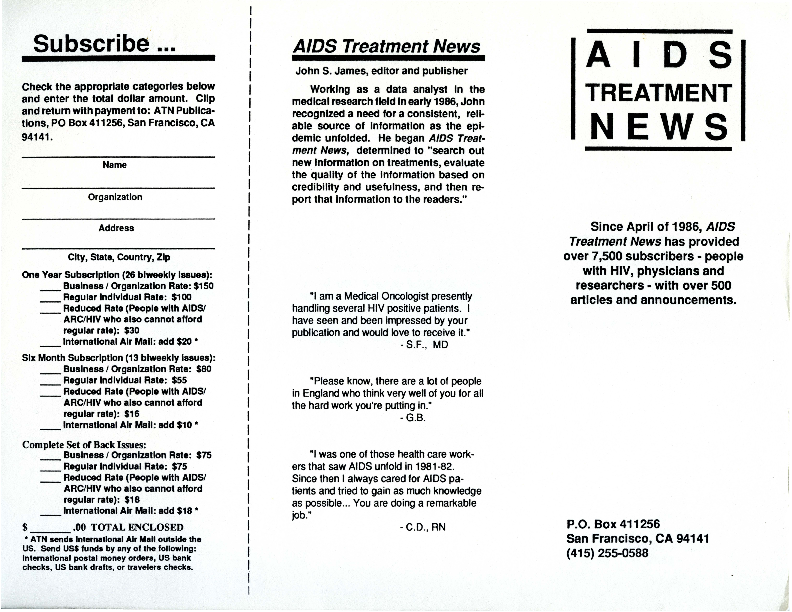 AIDS Treatment News brochure [2]