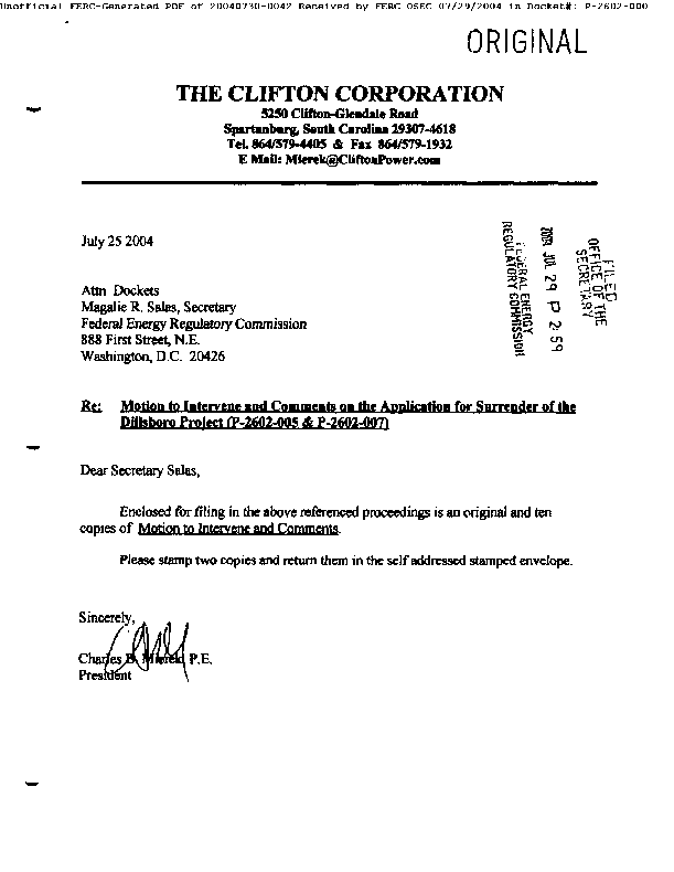 Motion to Intervene and Comments on the Application for Surrender of the Dillsboro Project