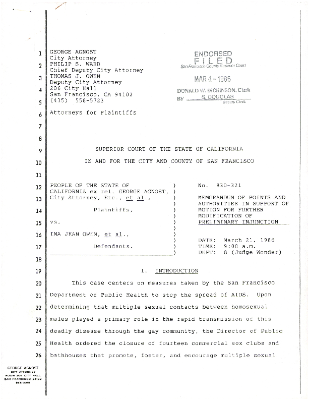 Court documents re: motion for further modification of preliminary injunction