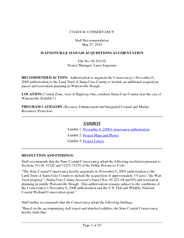 Staff recommendation, May 27, 2010: Watsonville Slough acquisitions augmentation