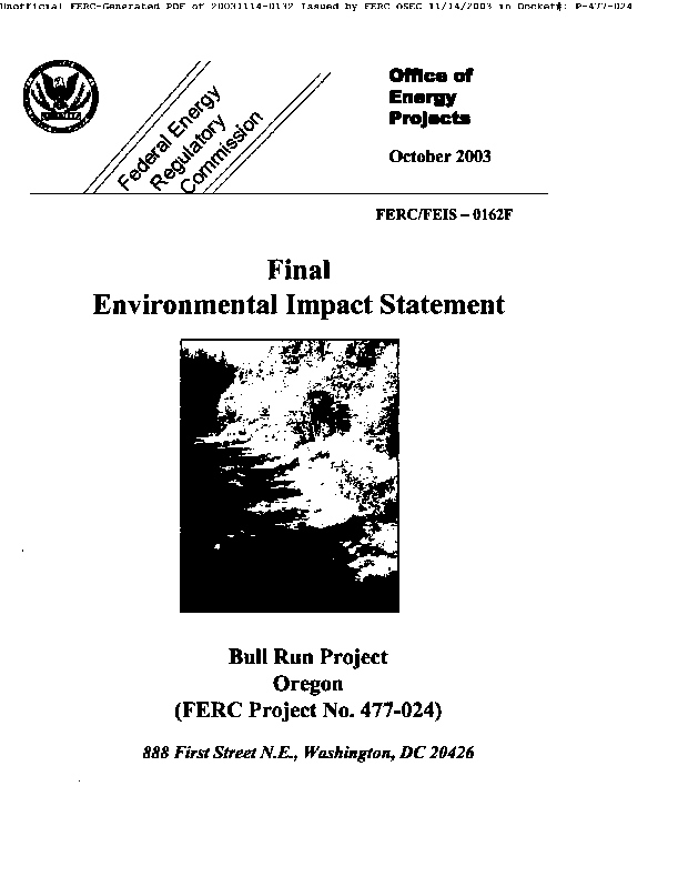 Final Environmental Impact Statement for Portland Electric Companny's Bull Run Project