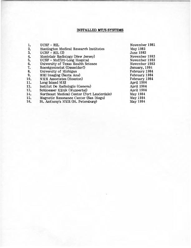 Diasonics Installed MT/S Systems list