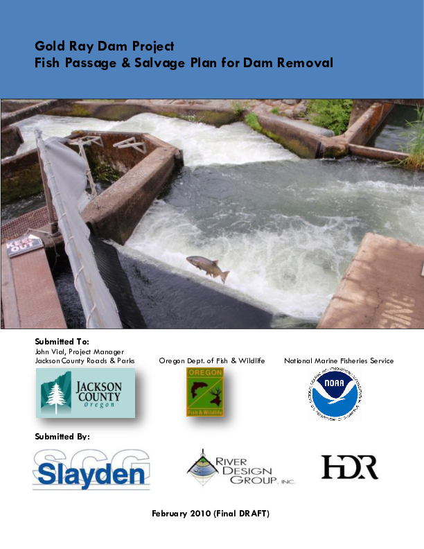 Gold Ray Dam Project Fish Passage & Salvage Plan for Dam Removal