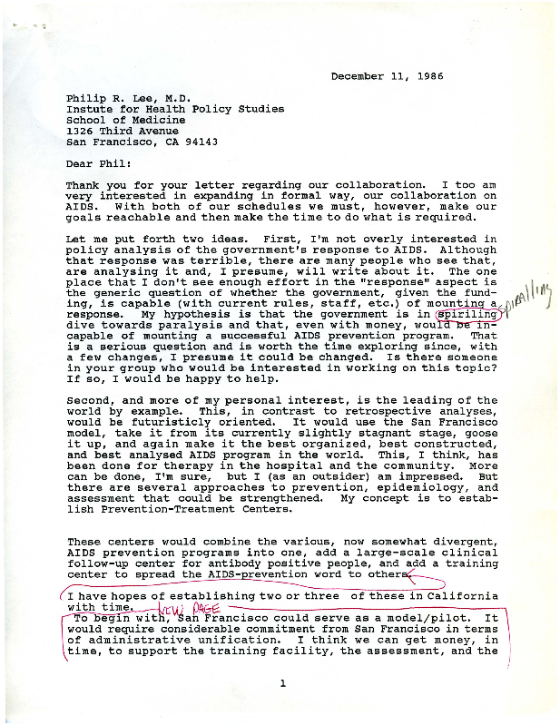 Donald P. Francis draft letter to Philip R. Lee