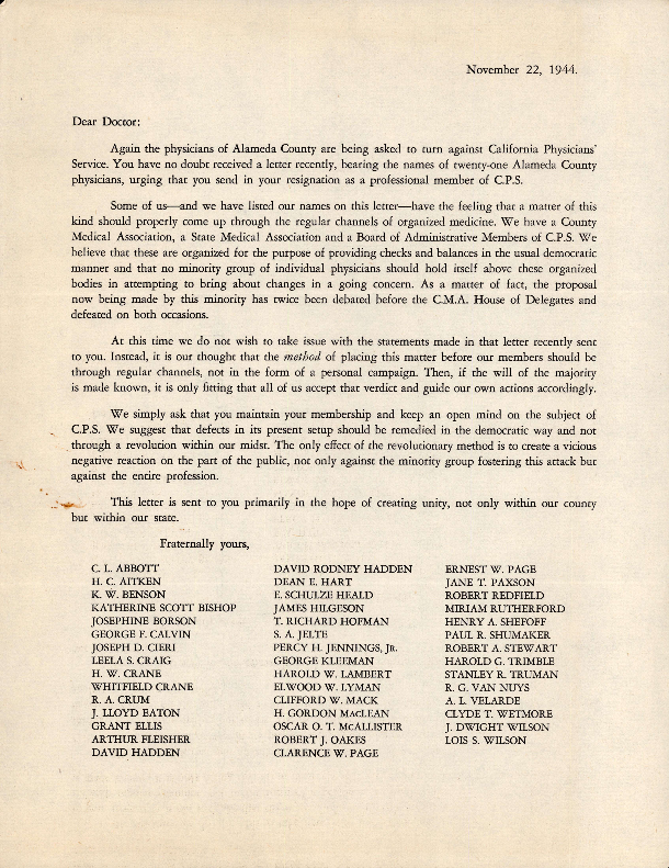 Letter to an Alameda County Medical Association Physician