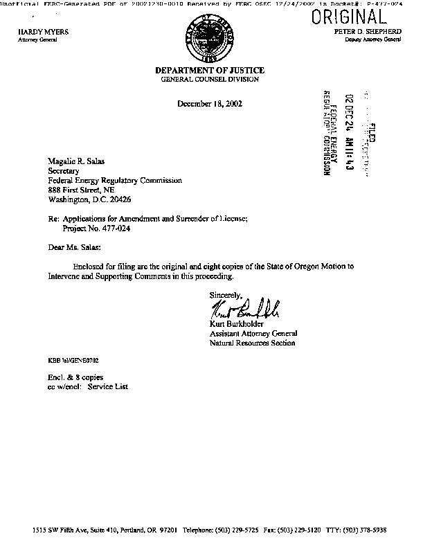 State of Oregon's Motion to Intervene and Supporting Comments