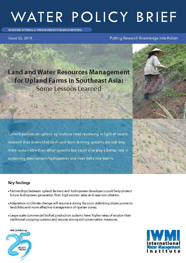 Land and water resources management for upland farms in Southeast Asia: some lessons learned