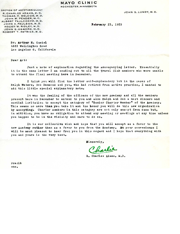 Charles Adams letter to Arthur E. Guedel