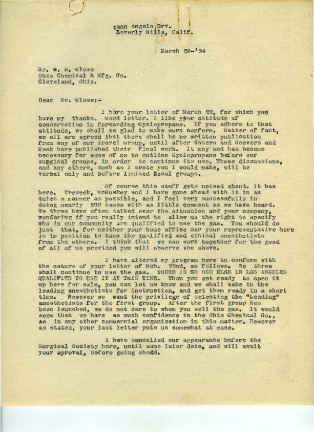 Arthur E. Guedel letter to G. B. Close