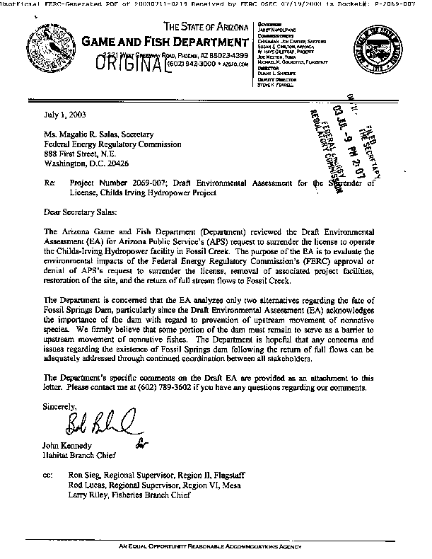 Arizona Game and Fish Department Comments on the Draft Environmental Assessment for the Surrender of the Child-Irving Hydropower License