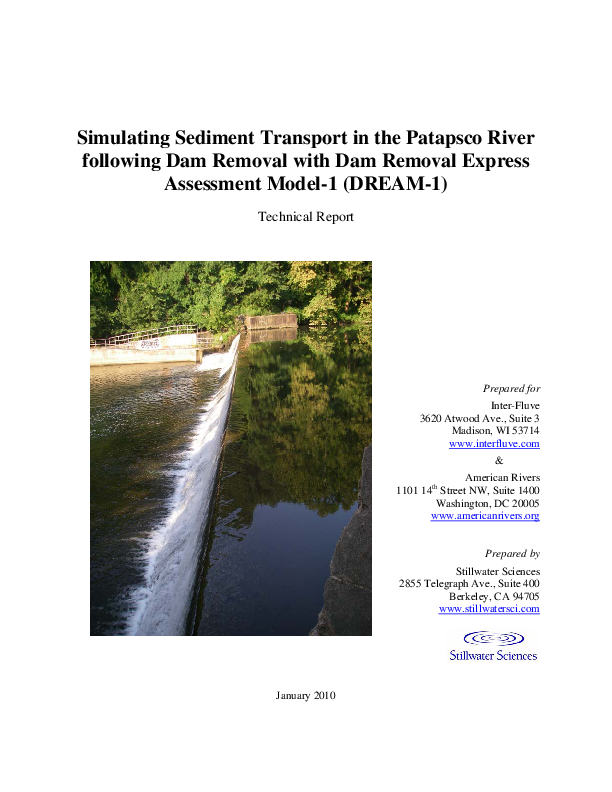 Simulating Sediment Transport in the Patapsco River following Dam Removal with Dam Removal Express Assessment Model-1 (DREAM-1) Technical Report