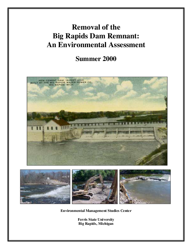 Removal of the Big Rapids Dam Remnant: An Environmental Assessment