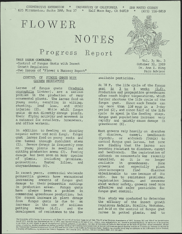 """Progress report flower notes--control of fungus gnats with insect growth regulators, two issues of """"flower and nursery report"""""""