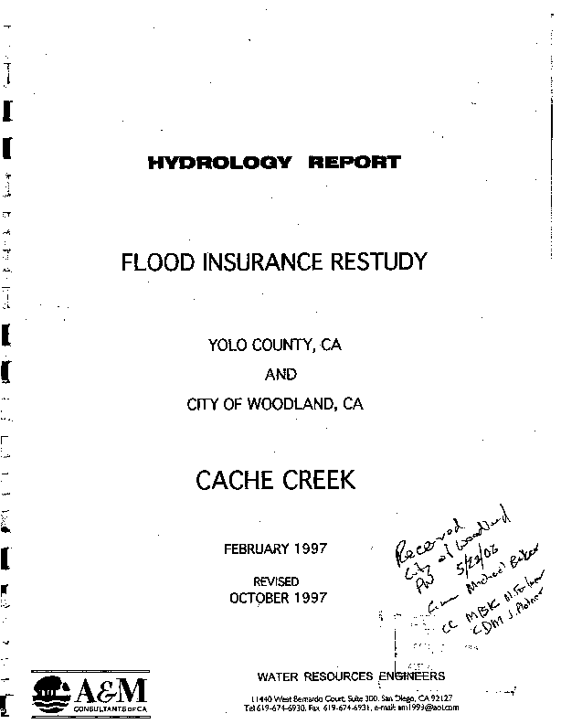 Appendix C, Hydrology Appendix for Lower Cache Creek Feasibility Study, Yolo County, California