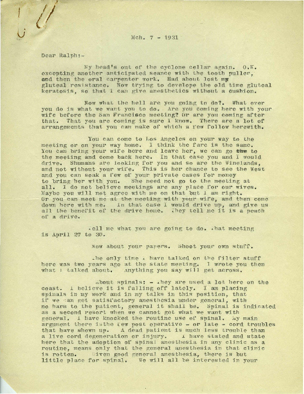 Letter from Arthur E. Guedel to Dr. Ralph M. Waters