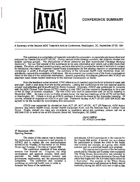 ATAC² - 2nd AIDS Treatment Activist Conference