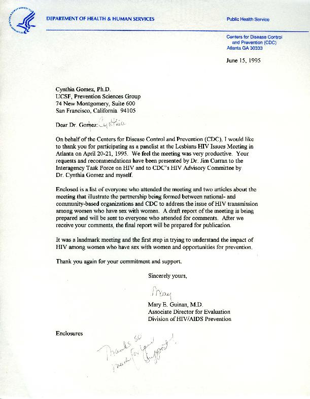 Mary E. Guinan letter to Cynthia Gomez