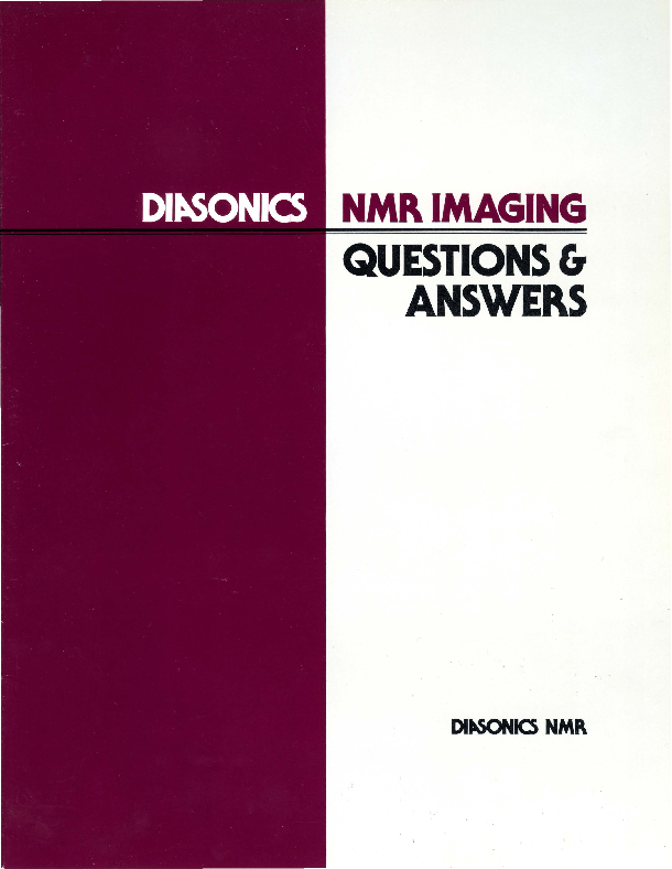 Diasonics NMR Imaging Questions and Answers booklet