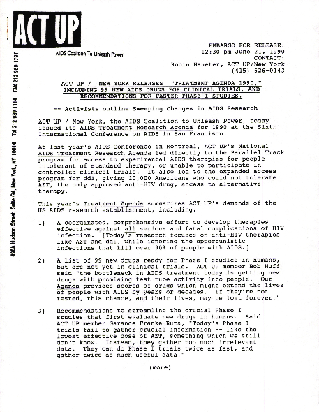 6th International AIDS Conference - 1990 ACT-UP AIDS Treatment Agenda