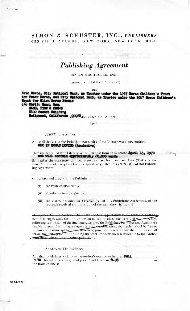 Calisphere Eric Berne Publishing Agreement For Sex In Human Loving