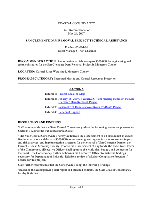 SAN CLEMENTE DAM REMOVAL PROJECT TECHNICAL ASSISTANCE