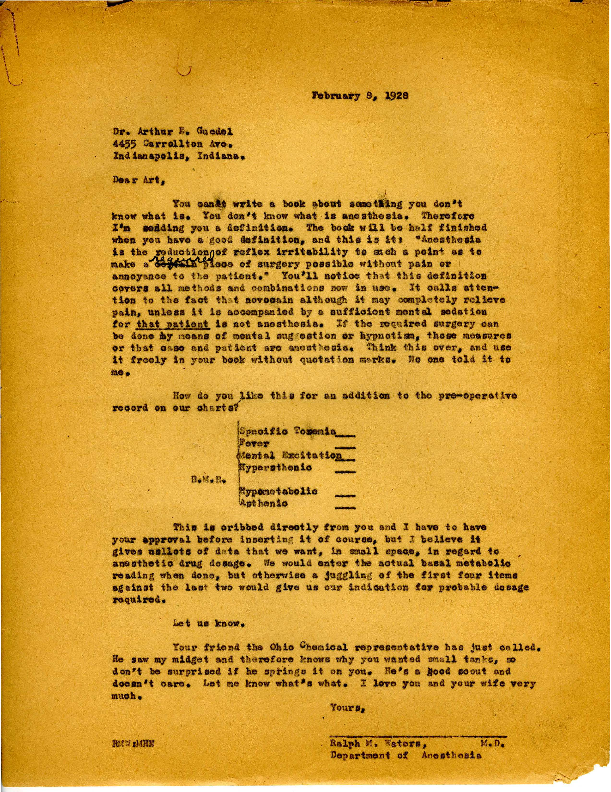 Letter from Dr. Ralph M. Waters to Arthur E. Guedel