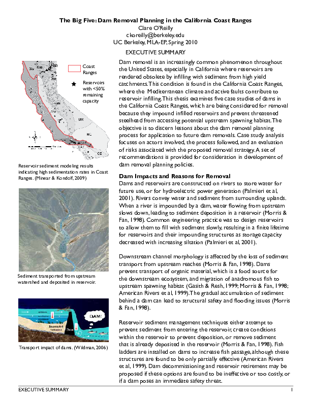 The Big Five: Dam Removal Planning in the California Coast Ranges