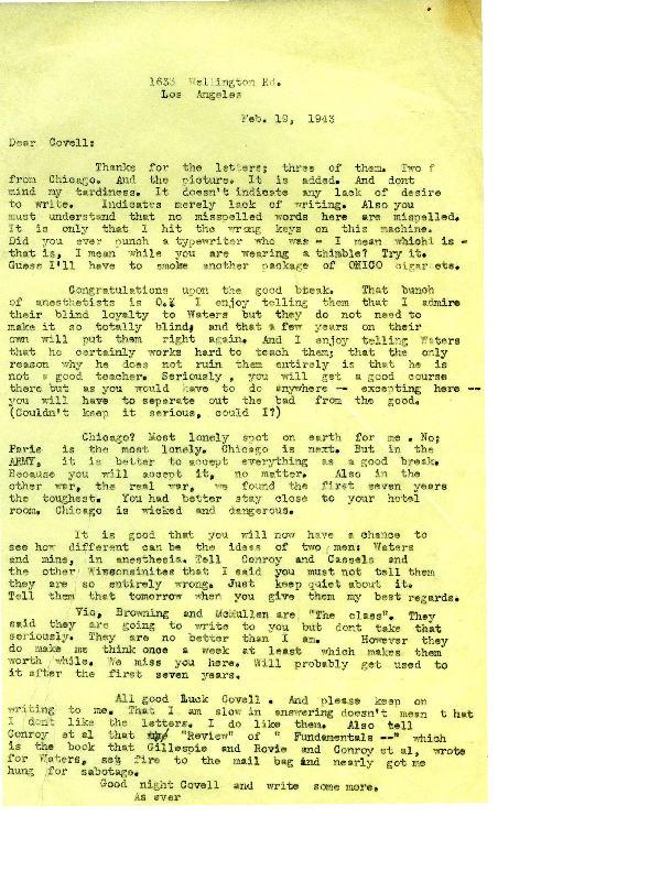 Arthur E. Guedel letter to Covell