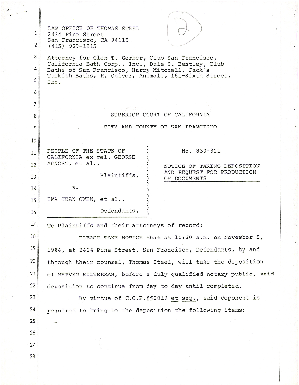 Notice of taking deposition and request for production of documents