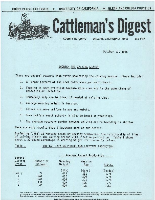 Cattleman's Digest--Shorten the Calving Season