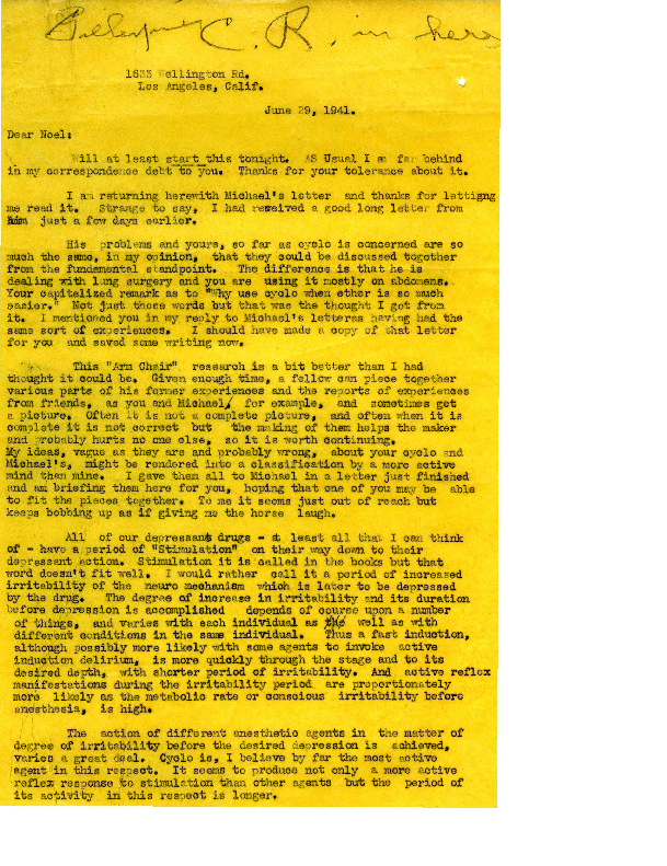 Arthur E. Guedel letter to Noel Gillespie
