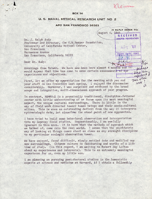 Letter to J. Ralph Audy from Arthur Kleinman