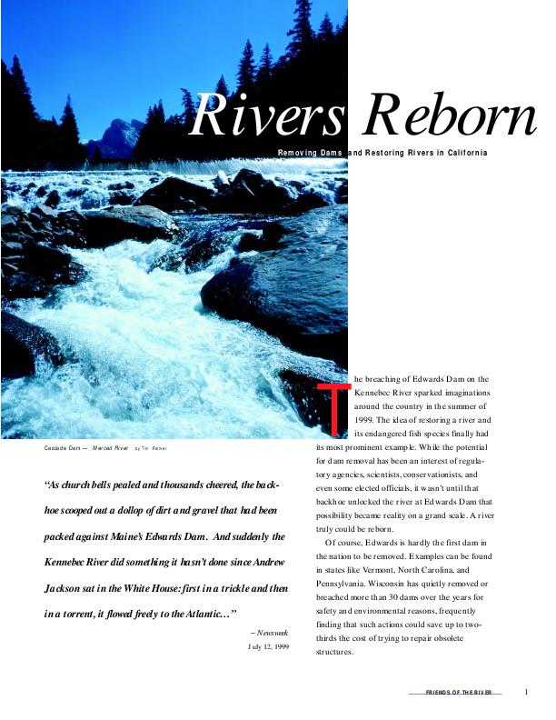 Rivers Reborn : Removing Dams and Restoring Rivers in California