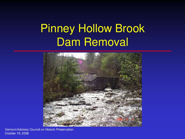 Pinney Hollow Brook Dam Removal