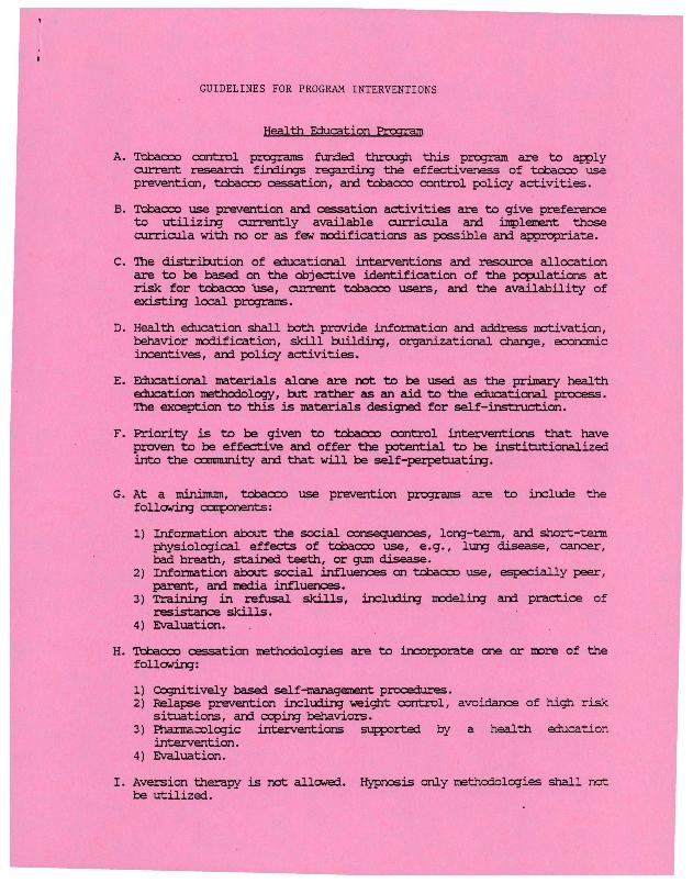 Guidelines for Program Interventions: Health Education Program