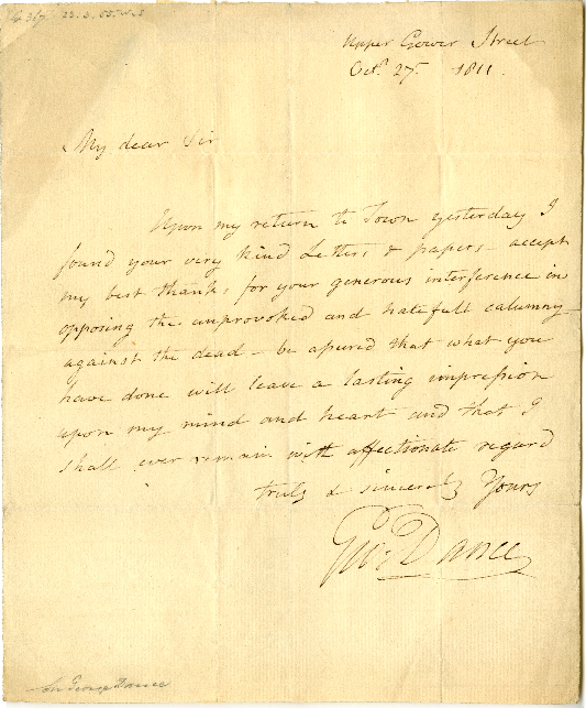 Correspondence to unknown from George Dance