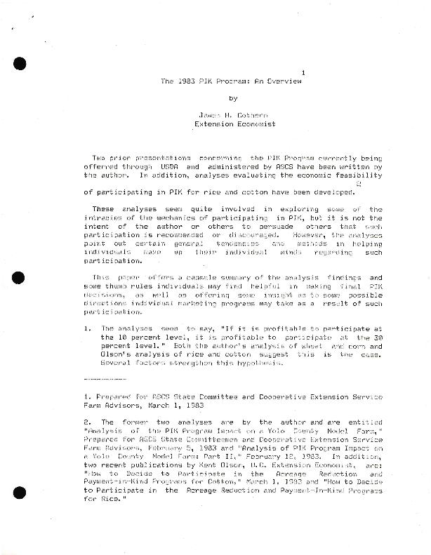 The 1983 PIK Program: An Overview