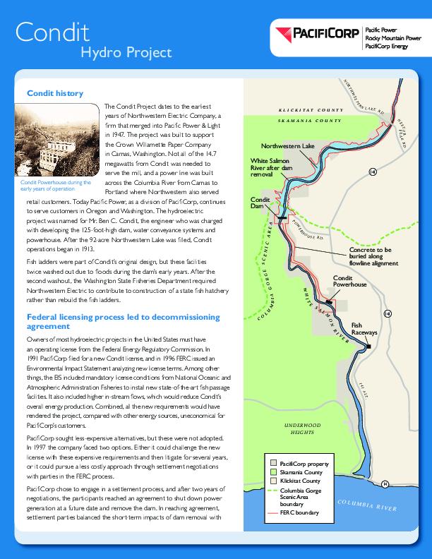 Condit Dam Removal Fact Sheet