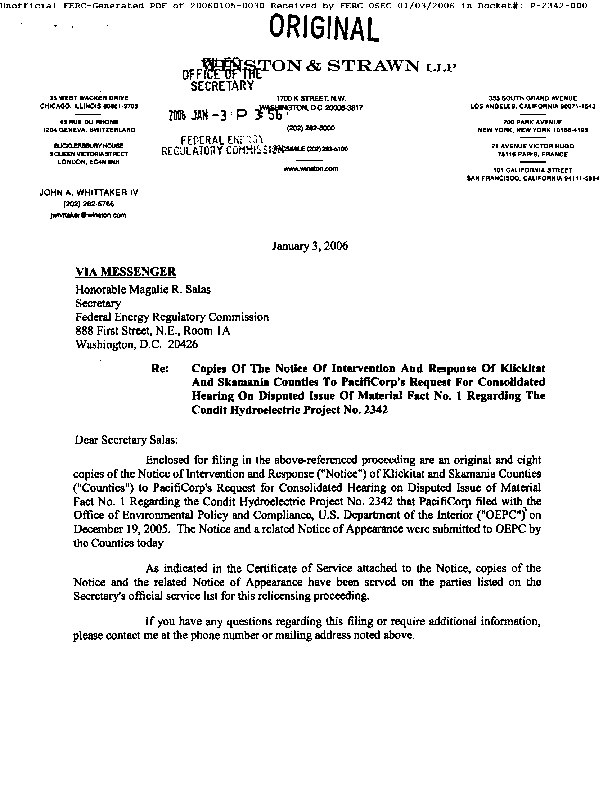 Notice of Intervention and Response of Klickitat and Skamania Counties to PacifiCorp's Request for Consolidated Hearing on Disputed Issue of Material Fact No 1. Regarding the Condit Hydroelectric Project no. 2342