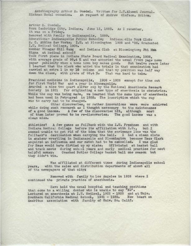Arthur E. Guedel autobiography