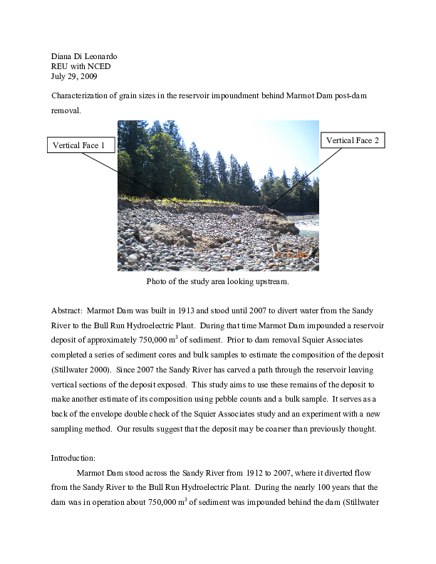 Characterization of Grain Sizes in the Reservoir Impoundment Behind Marmot Dam Post-Dam Removal.