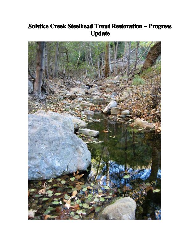 Solstice Creek Steelhead Trout Restoration -- Progress Update