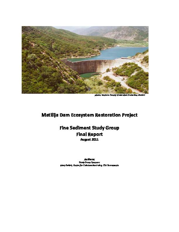 Matilija Dam Ecosystem Restoration Project Fine Sediment Study Group Final Report